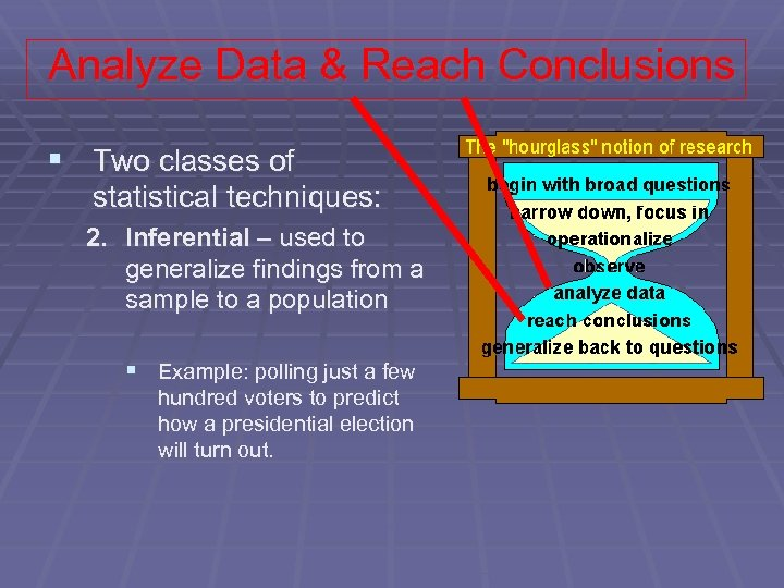 Analyze Data & Reach Conclusions § Two classes of statistical techniques: 2. Inferential –