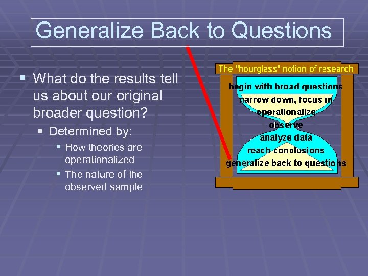 Generalize Back to Questions § What do the results tell us about our original