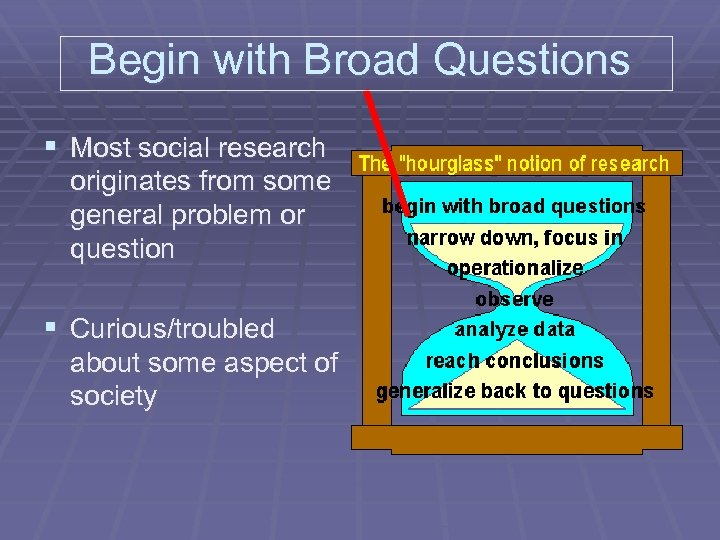 Begin with Broad Questions § Most social research originates from some general problem or