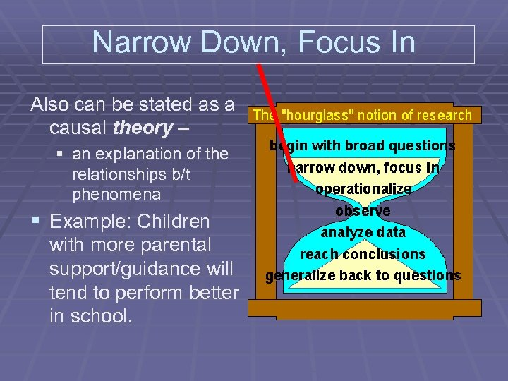 Narrow Down, Focus In Also can be stated as a causal theory – §