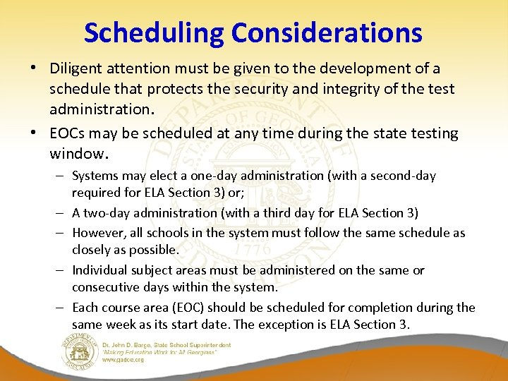 Scheduling Considerations • Diligent attention must be given to the development of a schedule