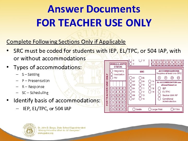 Answer Documents FOR TEACHER USE ONLY Complete Following Sections Only if Applicable • SRC