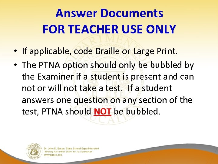 Answer Documents FOR TEACHER USE ONLY • If applicable, code Braille or Large Print.