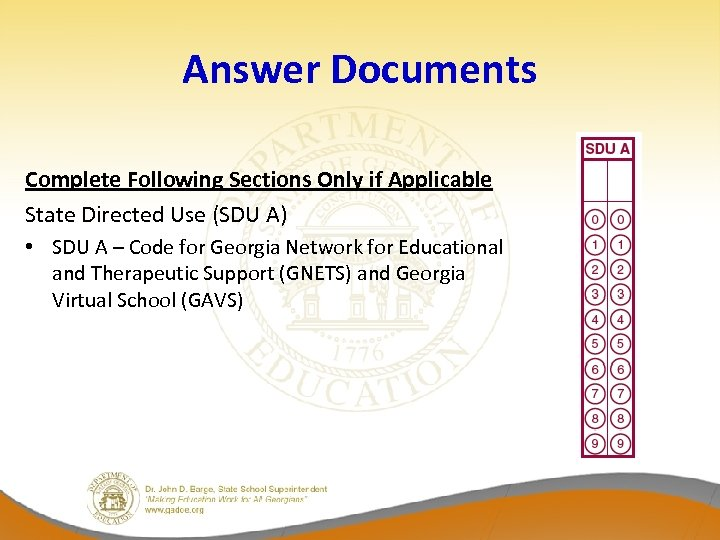 Answer Documents Complete Following Sections Only if Applicable State Directed Use (SDU A) •