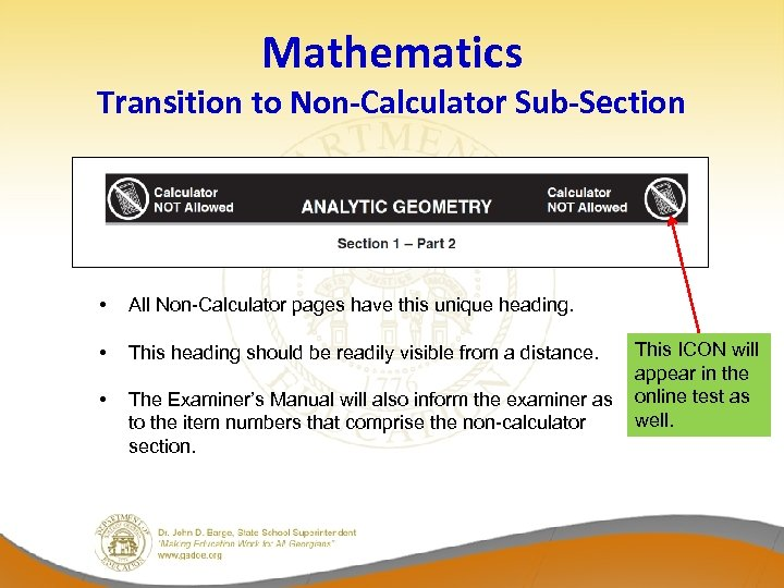 Mathematics Transition to Non-Calculator Sub-Section • All Non-Calculator pages have this unique heading. •