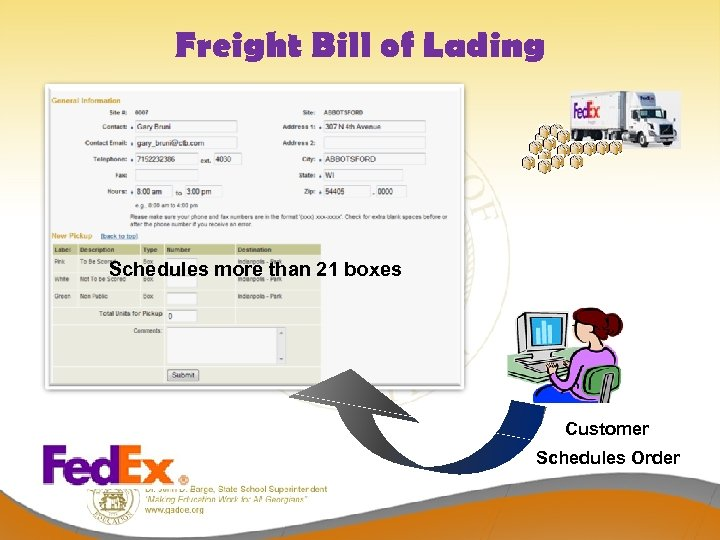 Freight Bill of Lading Schedules more than 21 boxes Customer Schedules Order
