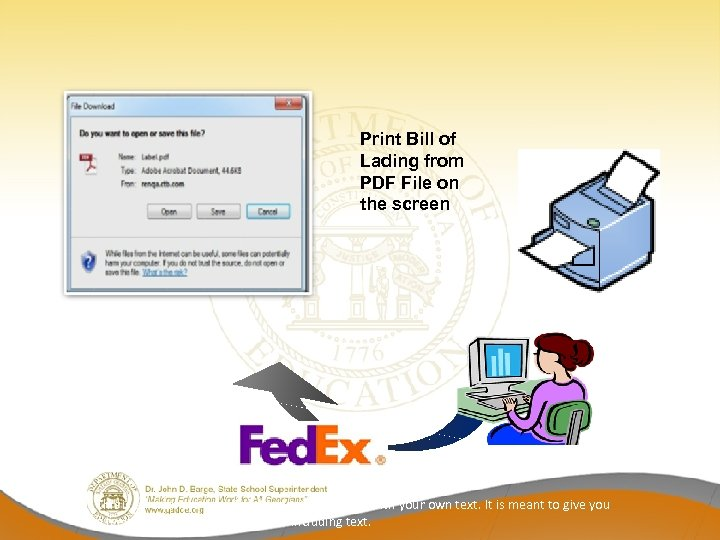 Print Bill of Lading from PDF File on the screen This is an example