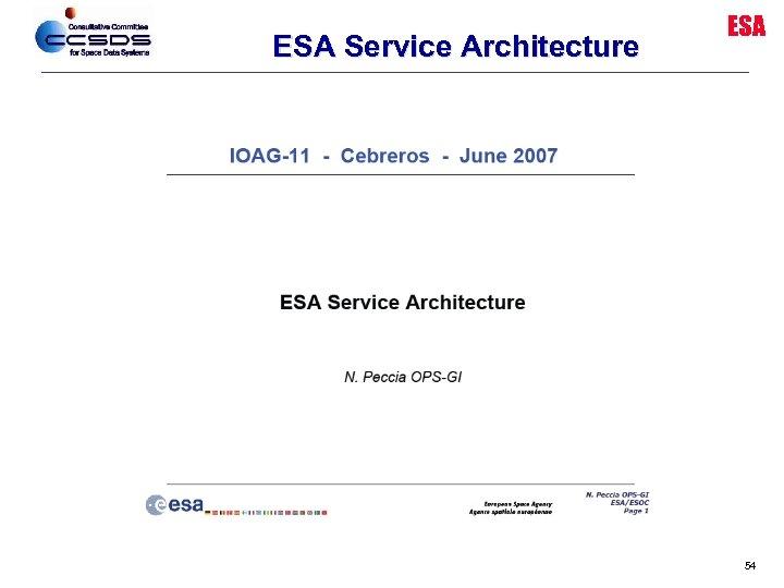 ESA Service Architecture ESA 54