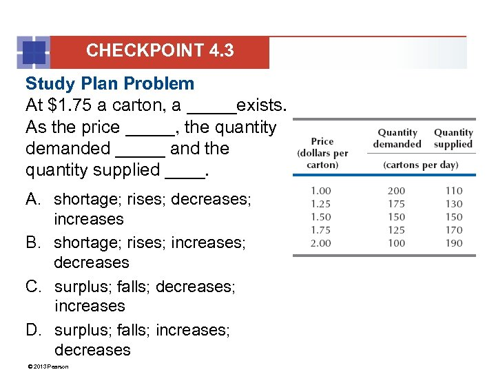 CHECKPOINT 4. 3 Study Plan Problem At $1. 75 a carton, a _____exists. As