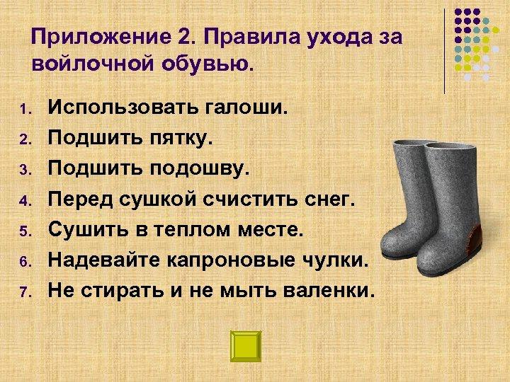 Приложение 2. Правила ухода за войлочной обувью. 1. 2. 3. 4. 5. 6. 7.