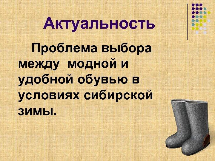 Актуальность Проблема выбора между модной и удобной обувью в условиях сибирской зимы.