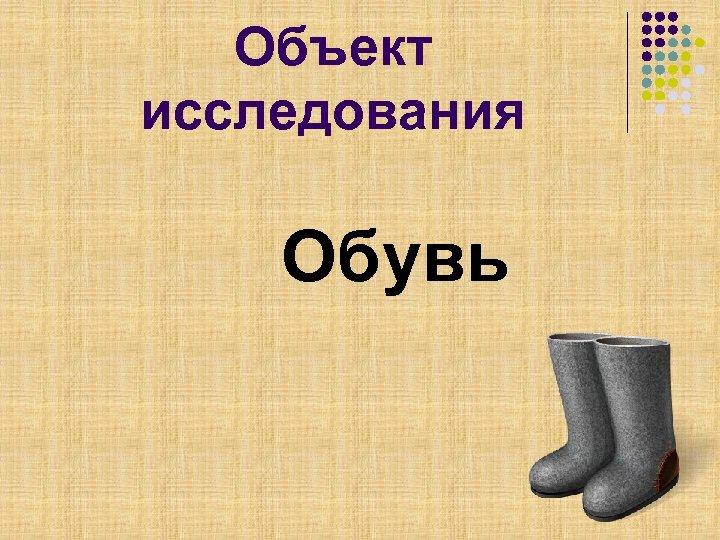 Объект исследования Обувь