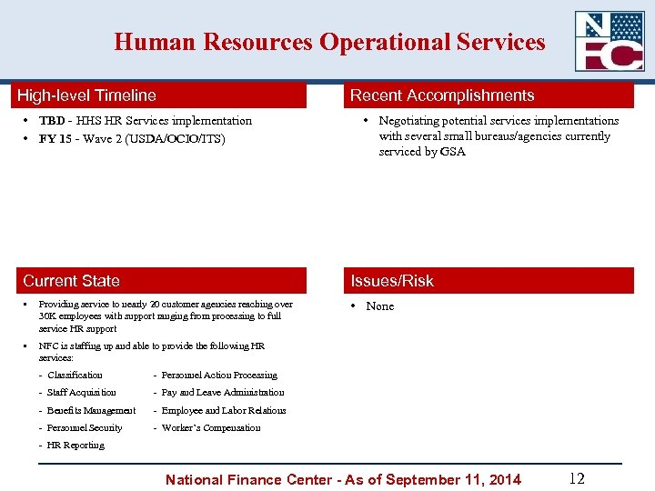 Human Resources Operational Services High-level Timeline Recent Accomplishments • TBD - HHS HR Services
