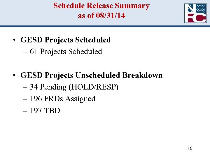 Schedule Release Summary as of 08/31/14 • GESD Projects Scheduled – 61 Projects Scheduled