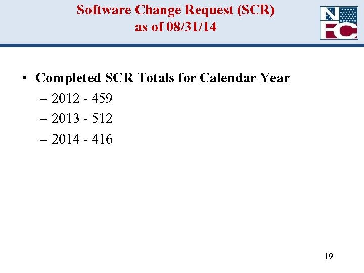 Software Change Request (SCR) as of 08/31/14 • Completed SCR Totals for Calendar Year