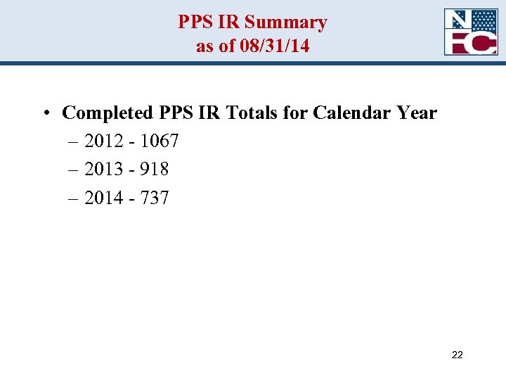 PPS IR Summary as of 08/31/14 • Completed PPS IR Totals for Calendar Year