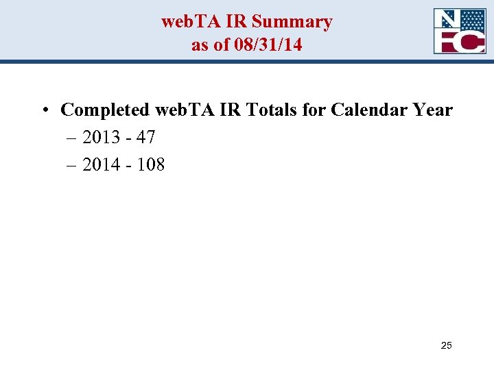 web. TA IR Summary as of 08/31/14 • Completed web. TA IR Totals for