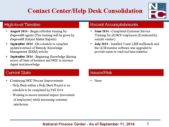 Contact Center/Help Desk Consolidation High-level Timeline Recent Accomplishments • August 2014 - Began refresher