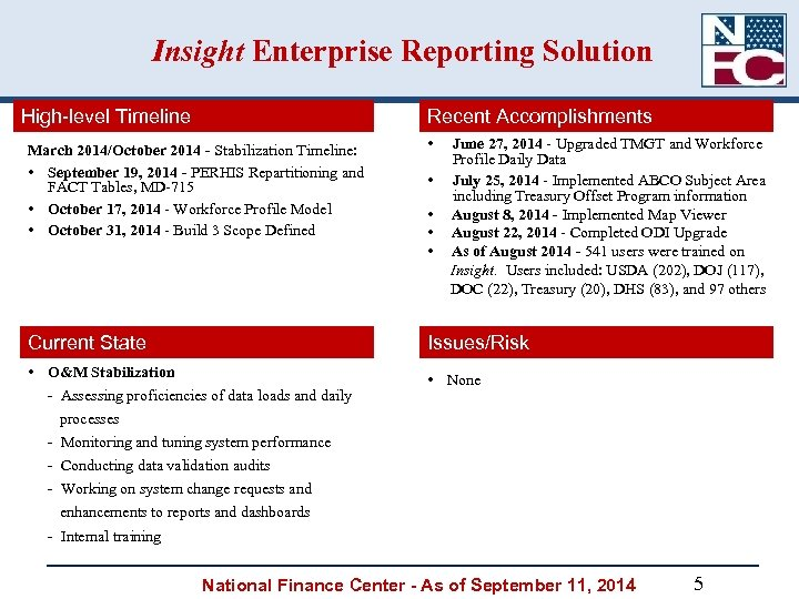 Insight Enterprise Reporting Solution High-level Timeline Recent Accomplishments March 2014/October 2014 - Stabilization Timeline: