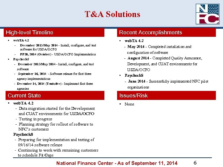 T&A Solutions High-level Timeline • • Recent Accomplishments web. TA 4. 2 - December