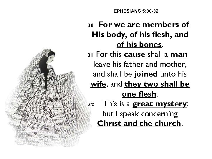 EPHESIANS 5: 30 -32 For we are members of His body, of his flesh,