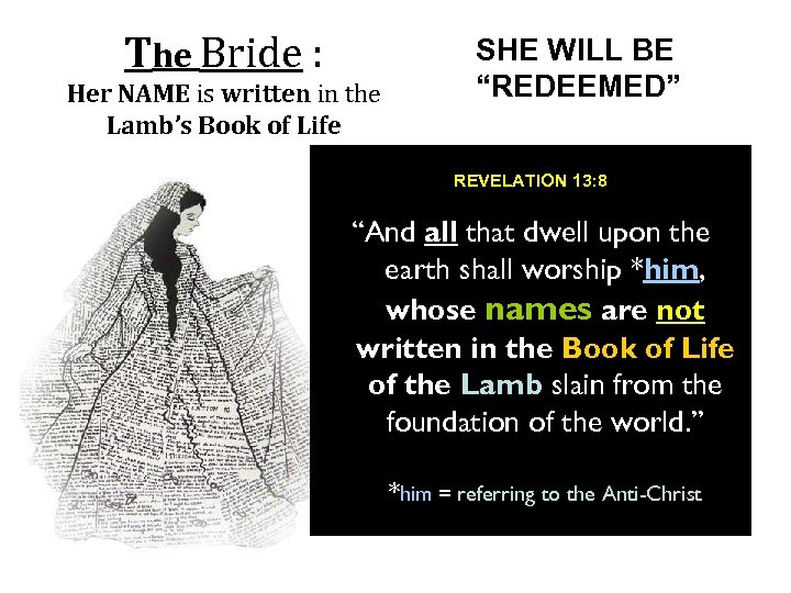 The Bride : Her NAME is written in the Lamb's Book of Life SHE