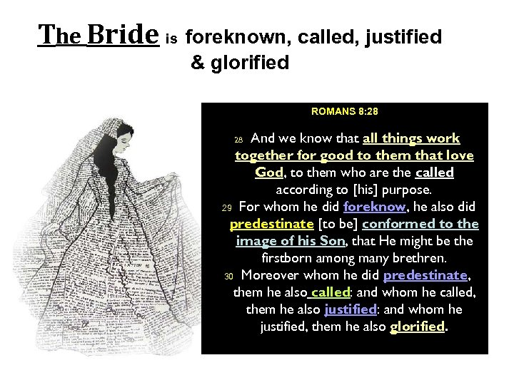 The Bride is foreknown, called, justified & glorified ROMANS 8: 28 And we know