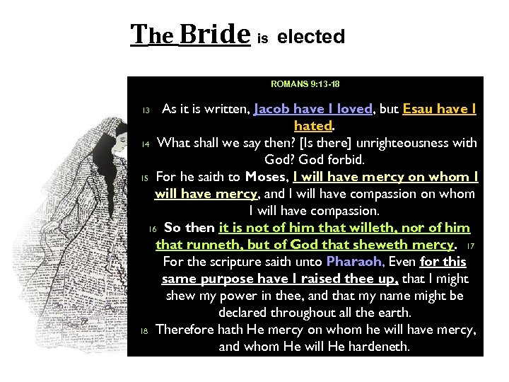 The Bride is elected ROMANS 9: 13 -18 As it is written, Jacob have