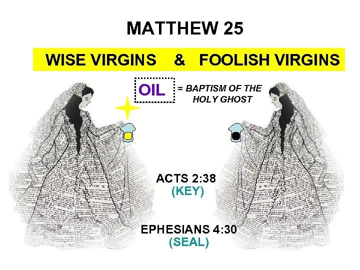 MATTHEW 25 WISE VIRGINS OIL & FOOLISH VIRGINS = BAPTISM OF THE HOLY GHOST