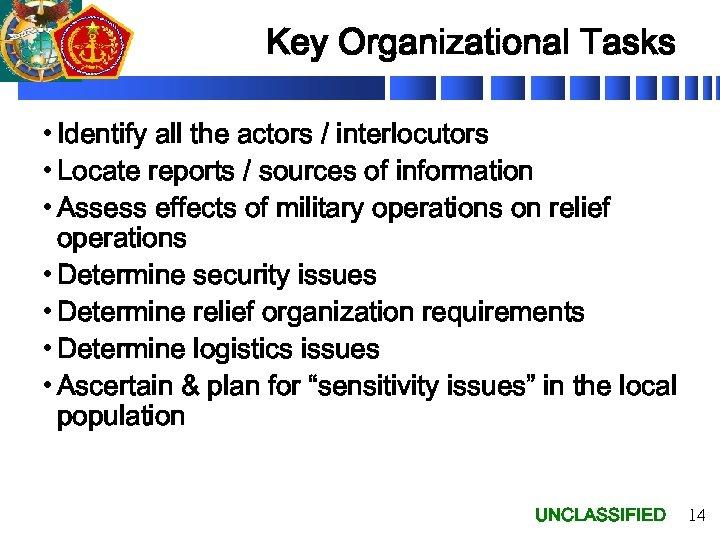 Key Organizational Tasks • Identify all the actors / interlocutors • Locate reports /
