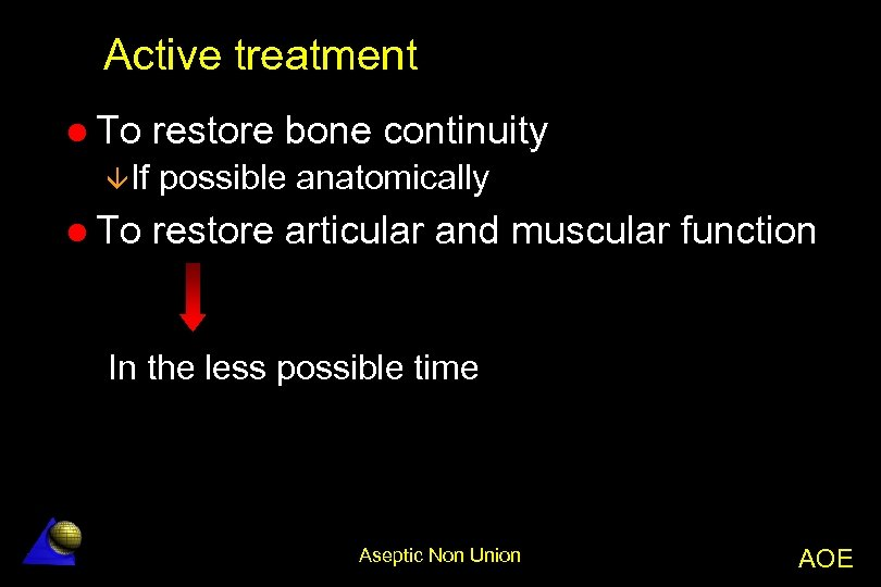 Active treatment l To âIf l To restore bone continuity possible anatomically restore articular