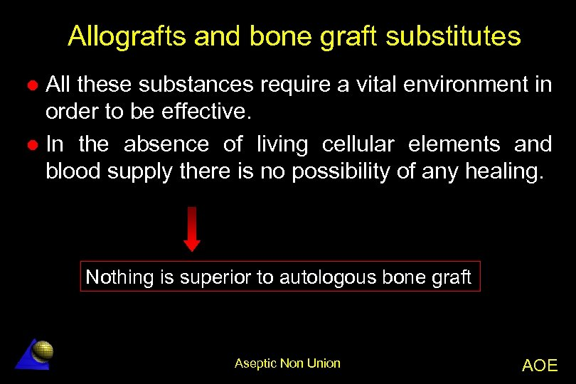 Allografts and bone graft substitutes All these substances require a vital environment in order
