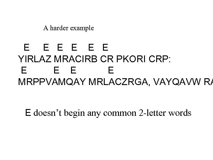 A harder example E E E YIRLAZ MRACIRB CR PKORI CRP: E E MRPPVAMQAY