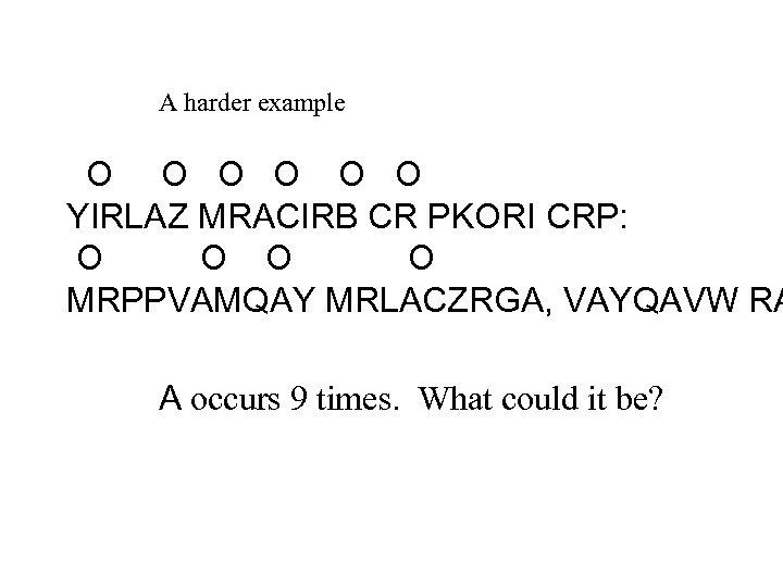A harder example O O O YIRLAZ MRACIRB CR PKORI CRP: O O MRPPVAMQAY