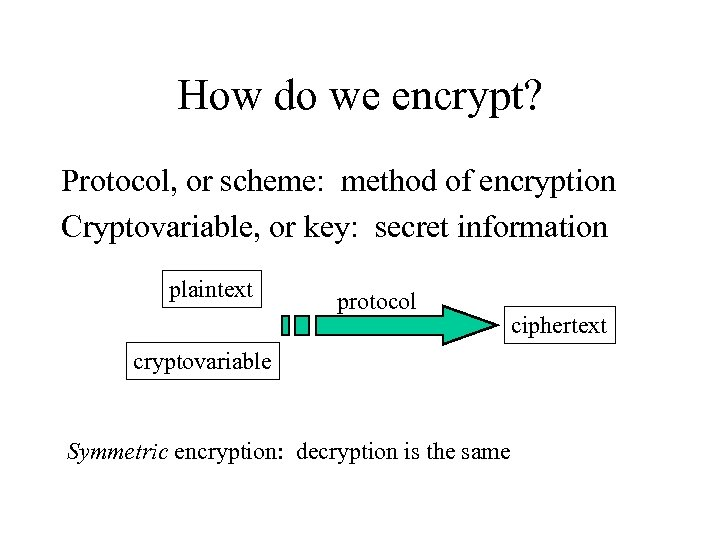 How do we encrypt? Protocol, or scheme: method of encryption Cryptovariable, or key: secret