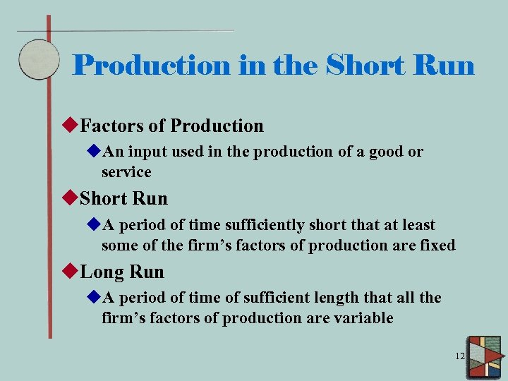 Production in the Short Run u. Factors of Production u. An input used in