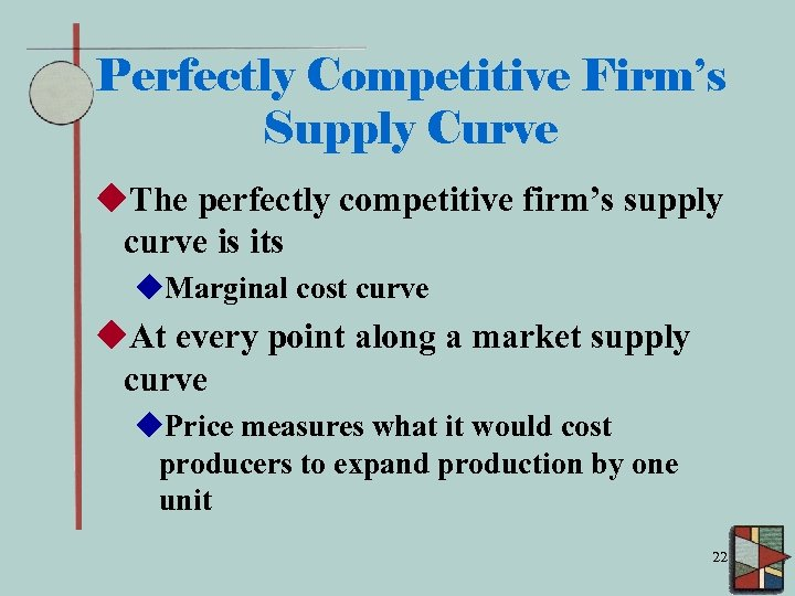 Perfectly Competitive Firm's Supply Curve u. The perfectly competitive firm's supply curve is its