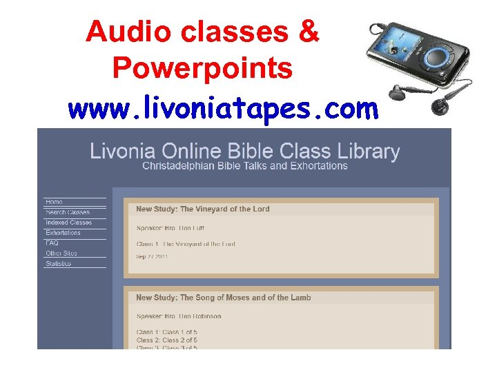 Audio classes & Powerpoints www. livoniatapes. com