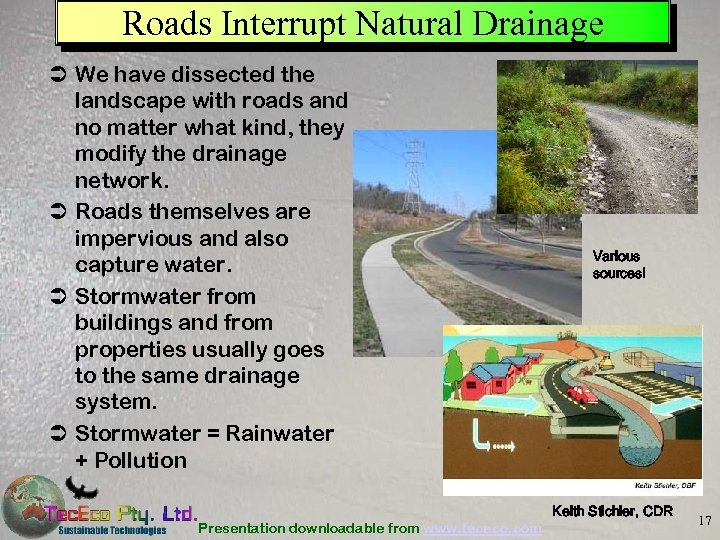 Roads Interrupt Natural Drainage Ü We have dissected the landscape with roads and no