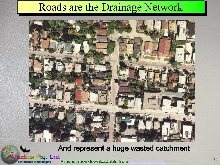 Roads are the Drainage Network And represent a huge wasted catchment Presentation downloadable from