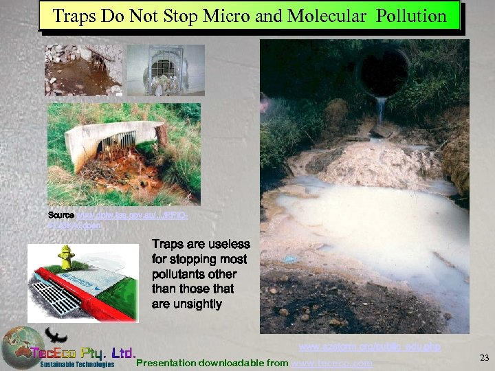 Traps Do Not Stop Micro and Molecular Pollution Source www. dpiw. tas. gov. au/.