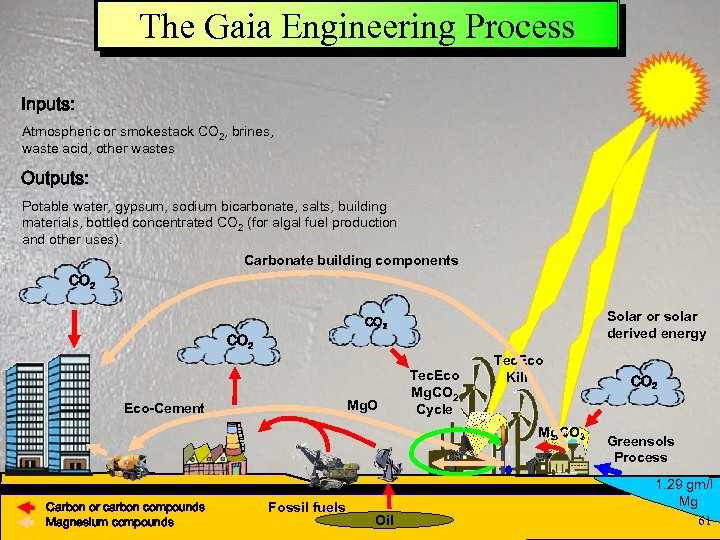 The Gaia Engineering Process Inputs: Atmospheric or smokestack CO 2, brines, waste acid, other
