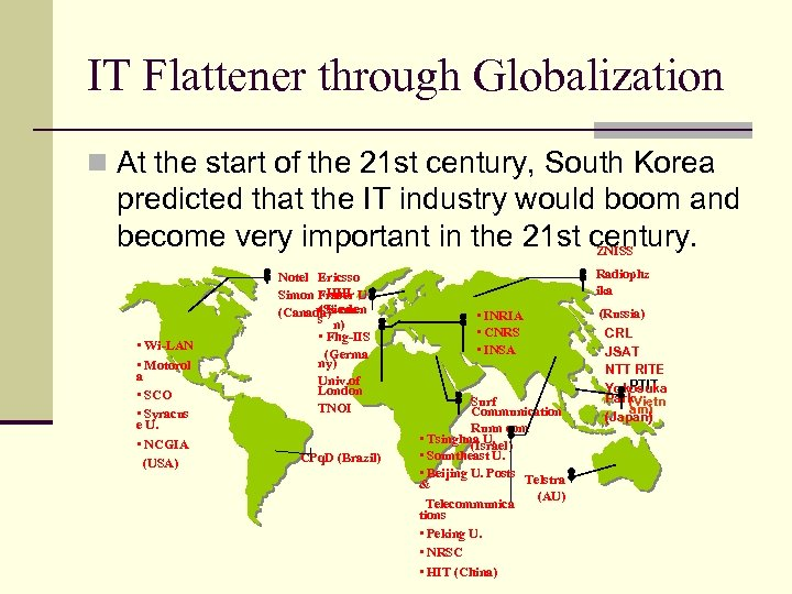 IT Flattener through Globalization n At the start of the 21 st century, South