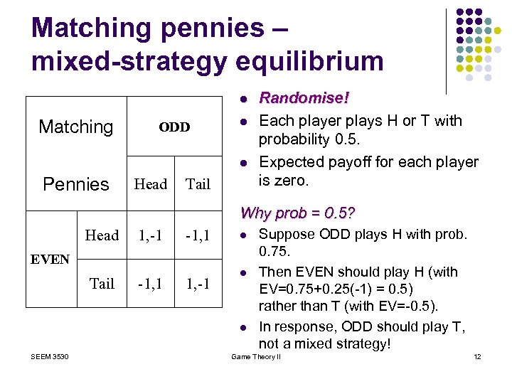 Matching pennies – mixed-strategy equilibrium l Matching ODD l l Pennies Head Tail Randomise!