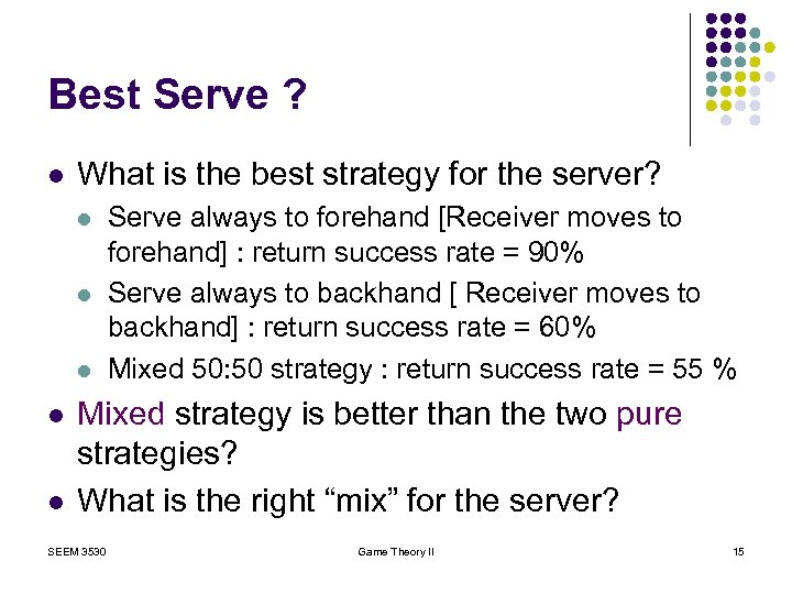 Best Serve ? l What is the best strategy for the server? l l