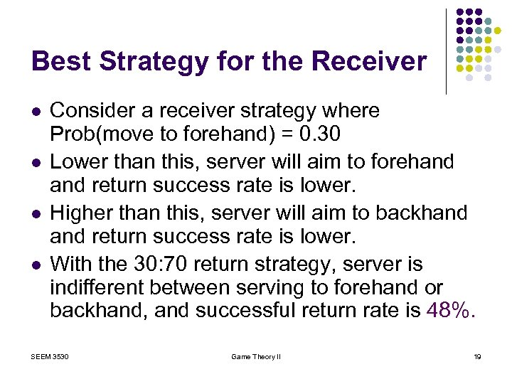Best Strategy for the Receiver l l Consider a receiver strategy where Prob(move to