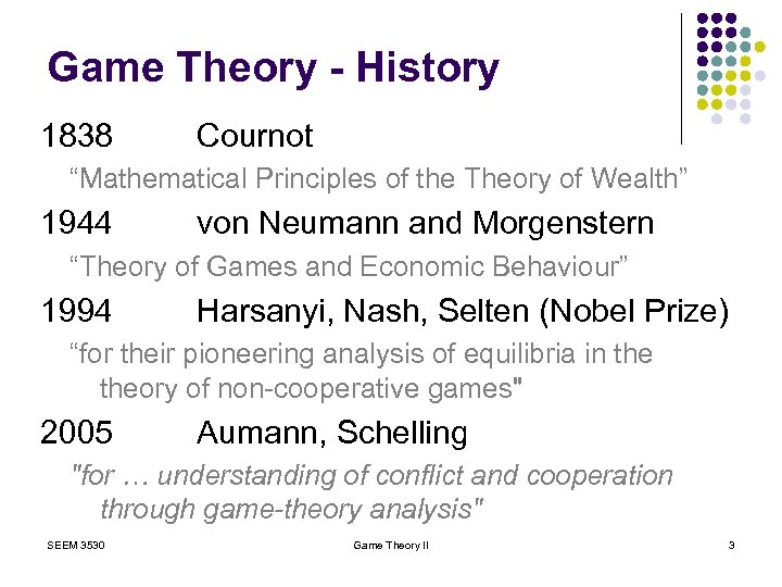 "Game Theory - History 1838 Cournot ""Mathematical Principles of the Theory of Wealth"" 1944"
