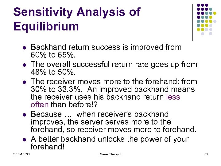Sensitivity Analysis of Equilibrium l l l SEEM 3530 Backhand return success is improved