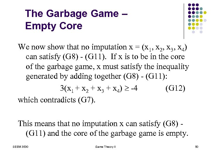 The Garbage Game – Empty Core We now show that no imputation x =