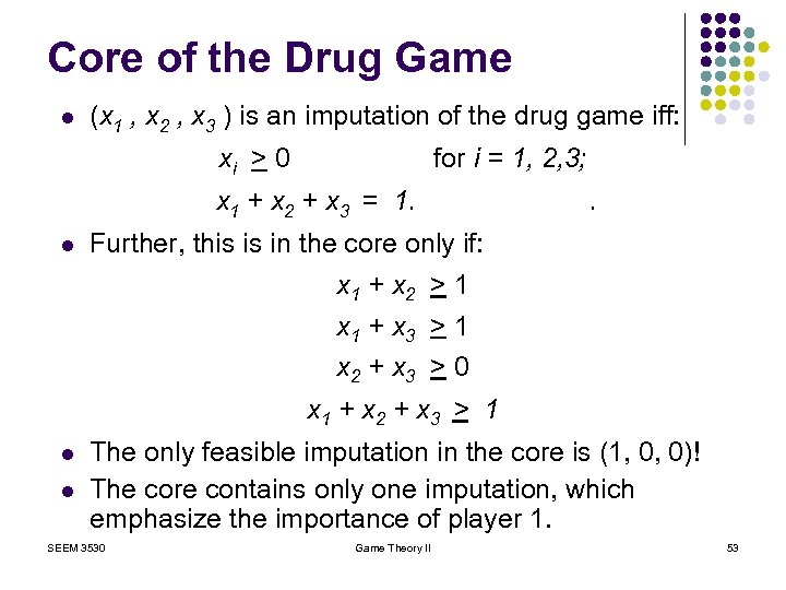 Core of the Drug Game l (x 1 , x 2 , x 3